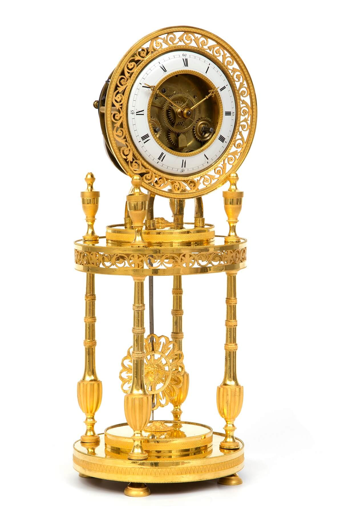 French-Directoire-ormolu-antique Clock-portico-mantel Clock