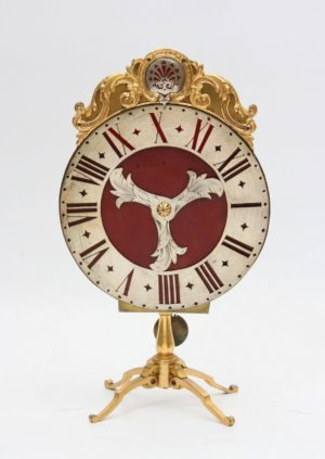 A Swiss Gilt Brass Night Timepiece, J.J. Zeller Basel, Circa 1740.