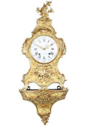 Een Fraaie Franse Louis XV Vernis Martin Console Clock, Viger En Lieutaud, Circa 1755.