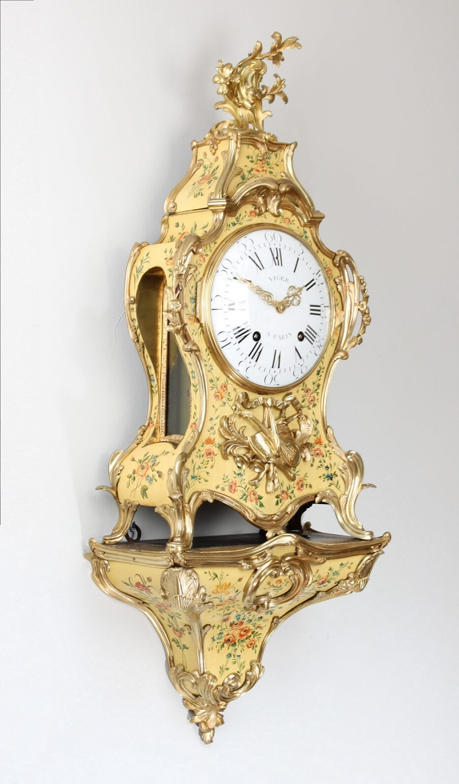 French-Louis XV-antique Clock-bracket Clock-Viger-Lieutaud-Vernis Martin