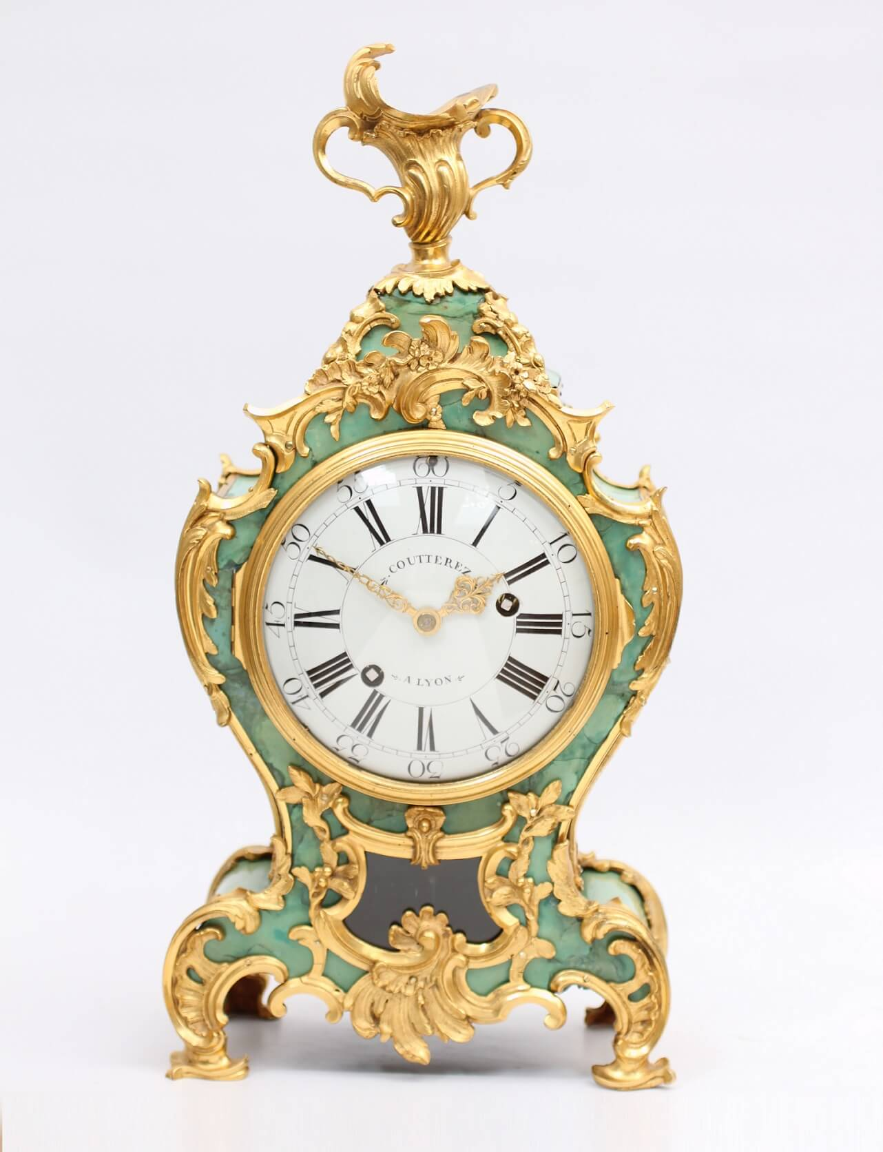 French-antique clock-Louis XV-corne verte-braket clock-cartel-miniature-ormolu