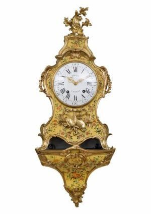 A Fine French Louis XV Vernis Martin Bracket Clock By Viger And Lieutaud, Circa 1755