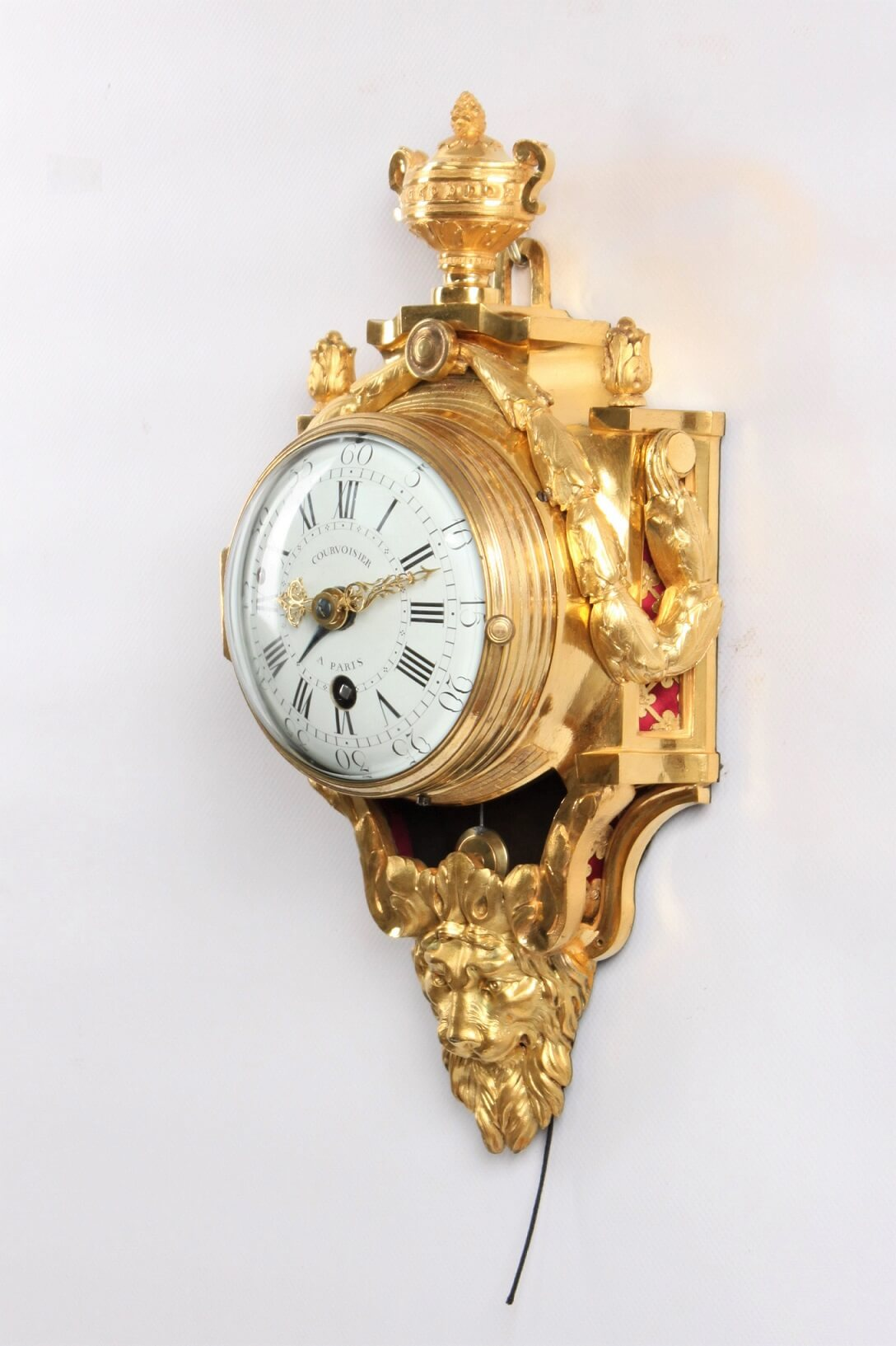 French-Louis XVI-ormolu-cartel d'alcove-pull repeat-courvoisier-antique clock