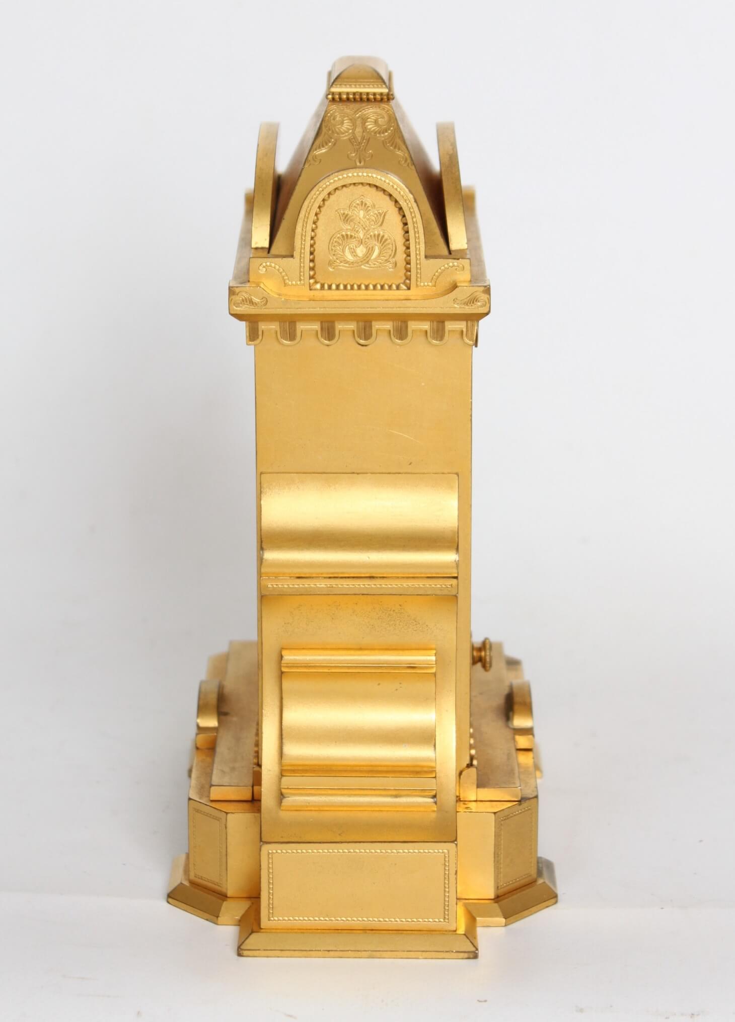 English-gilt brass-striking-Thomas Cole-table clock-antique clock