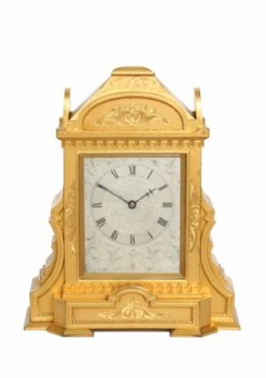 An English Gilt Brass Table Clock In The Manner Of Thomas Cole, Circa 1860