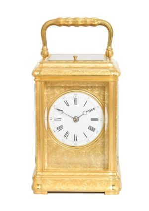 A French Engraved Gilt Brass Gorge Case Carriage Clock, Circa 1870