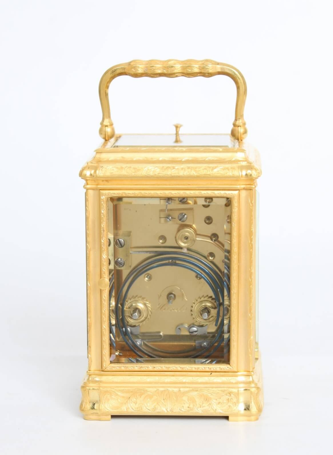 French-gilt Brass-engraved-carriage Clock-antique Clock-striking-repeating-travel Clock