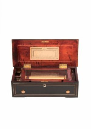 A Swiss Rosewood Cylinder Music Box By Ducommun Girod Circa 1860.