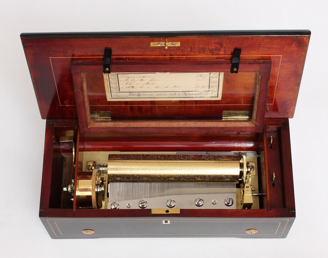 Swiss-music box-rosewood-cylinder-musical-mechanical music