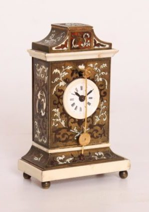 A Miniature Austrian Boulle And Ivory 'Zappler' Timepiece, Circa 1840