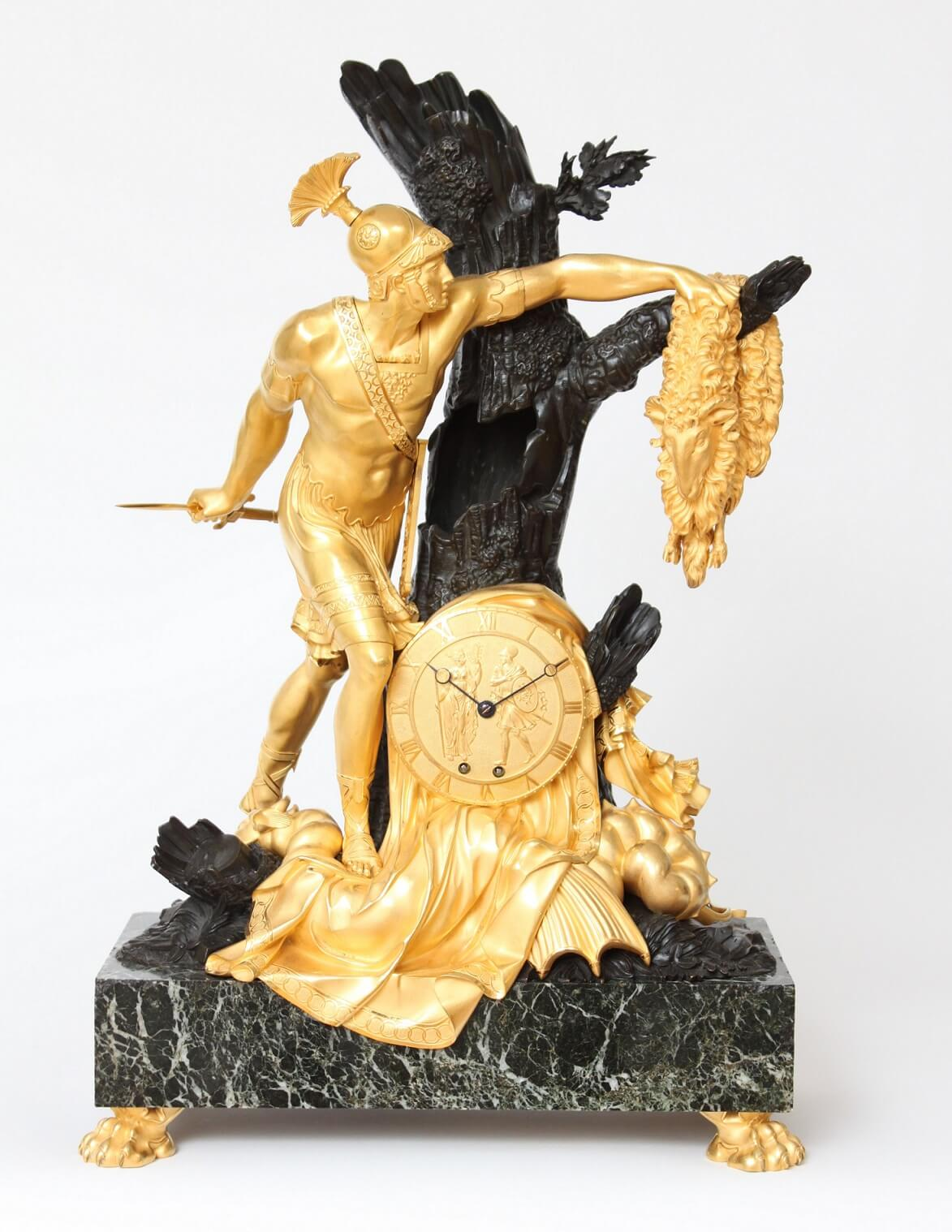 antique clock-Empire-French-ormolu-sculptural-striking-Jason-golden fleece-lesieur