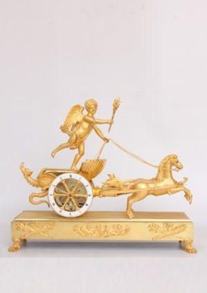 Een Fraaie Franse Empire Verguld Bronzen 'strijdwagen' Pendule, Deverberie à Paris, Circa 1800