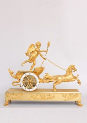 French-Empire-Chariot-mantel Clock-ormolu-Deverberie