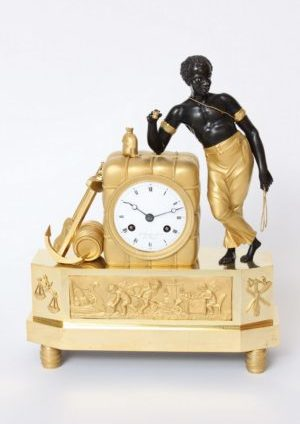 French-Empire-ormolu-bronze-bon Sauvage-matelot-antique Clock-mantel Clock