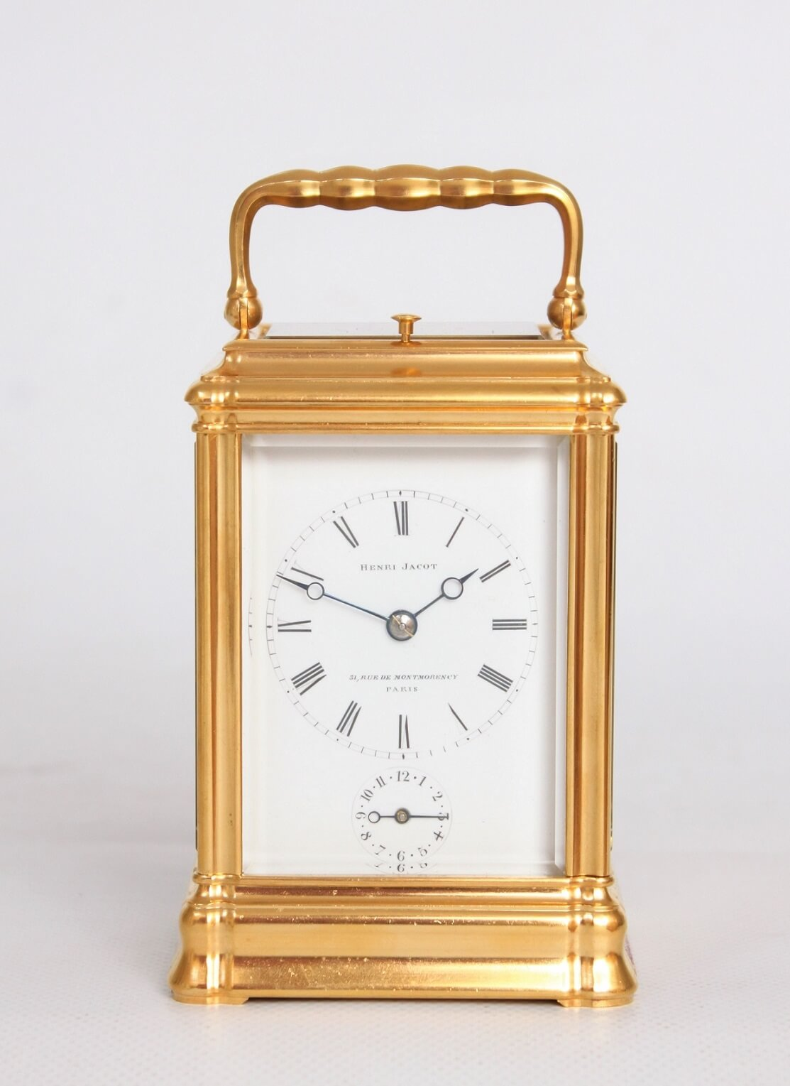 French-antique clock-carriage clock-striking-alarm-gilt brass-gorge case-Henri Jacot