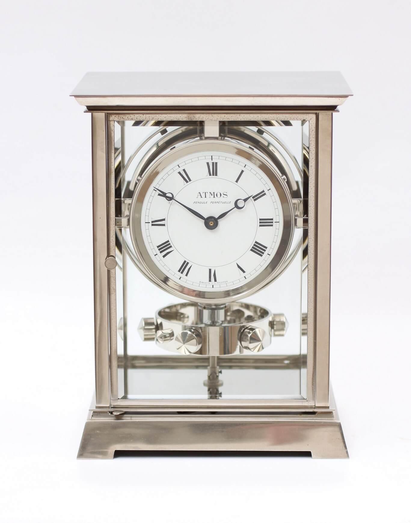 French-Reutter-nickel plated-atmos clock-Jean Louis Reutter-art deco