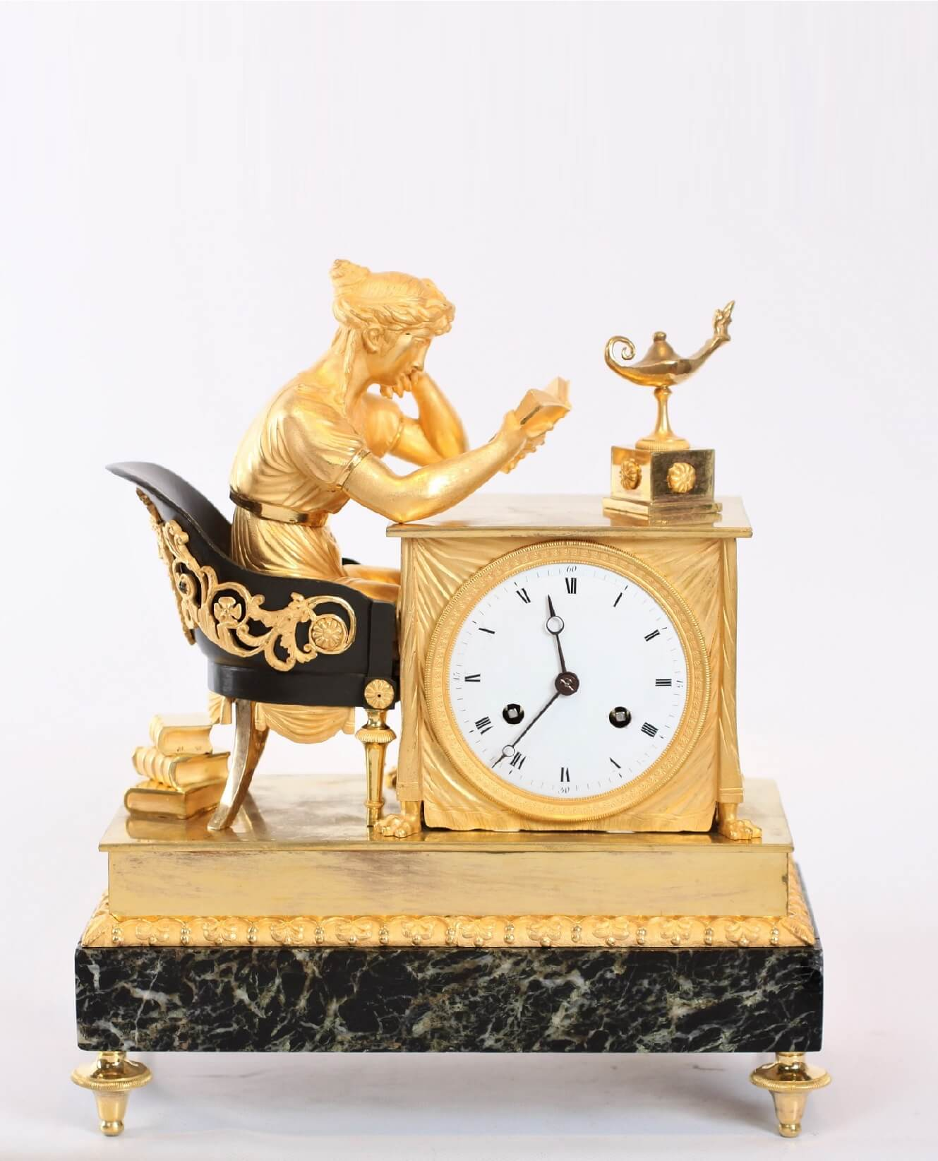 French-Empire-patinated-ormolu-gilt Bronze-marble-verde Antico-lectura-mantel Clock