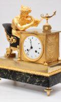 French-Empire-patinated-ormolu-gilt Bronze-marble-verde Antico-lectura-mantel Clock