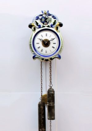 A Small German Polychrome Striking And Alarm Wall Clock, Circa 1860