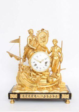 A French Louis XVI Gilt Bronze Mantel Clock, Les Corsaires, Le Nepveu, Circa 1770
