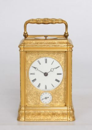 An English Engraved Gorge Case Quarter Striking Alarm Carriage Clock, Dent Circa 1850