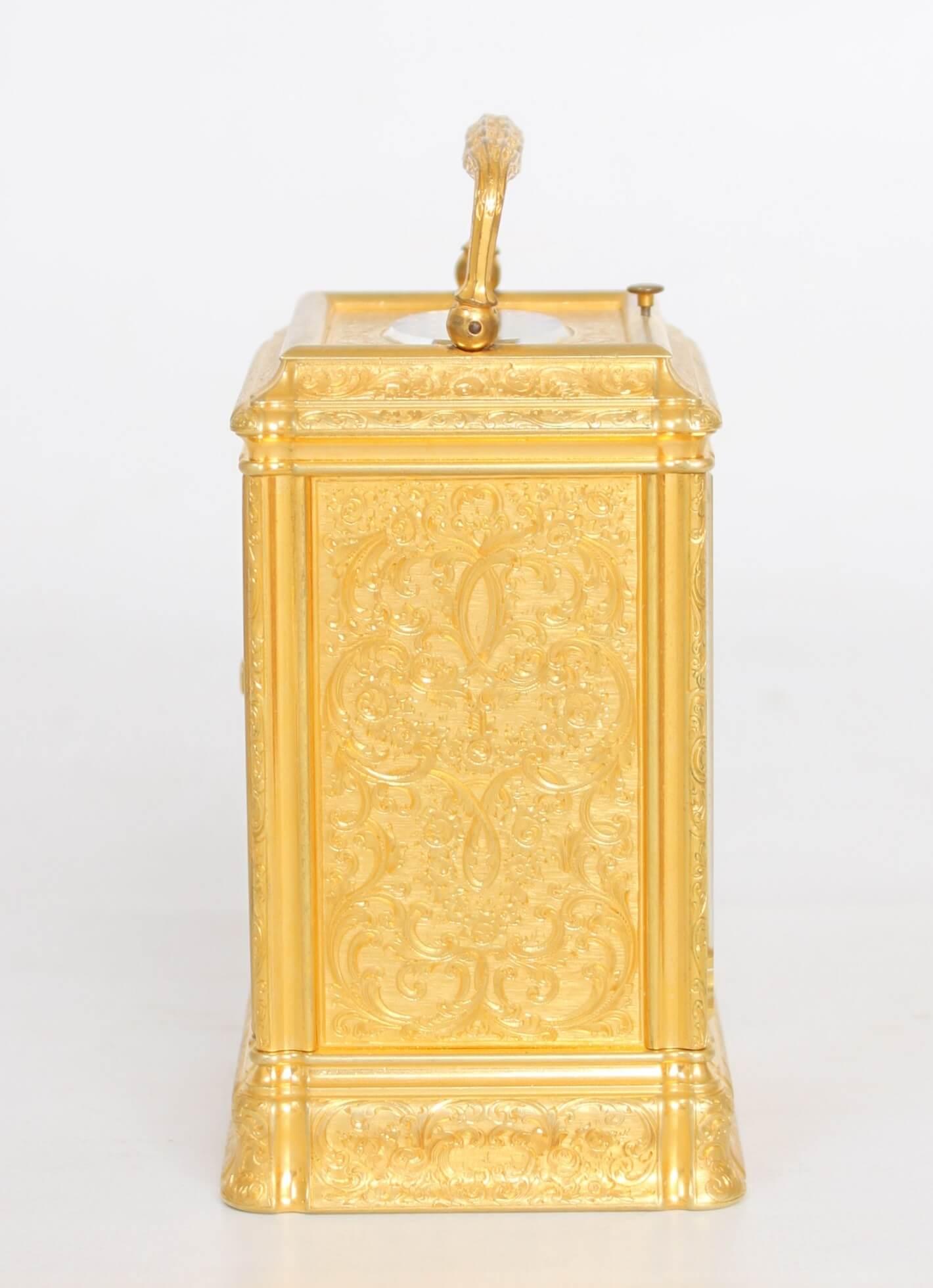 English-gorge case-carriage clock-quarter repeating-Dent-gilt brass-engraved