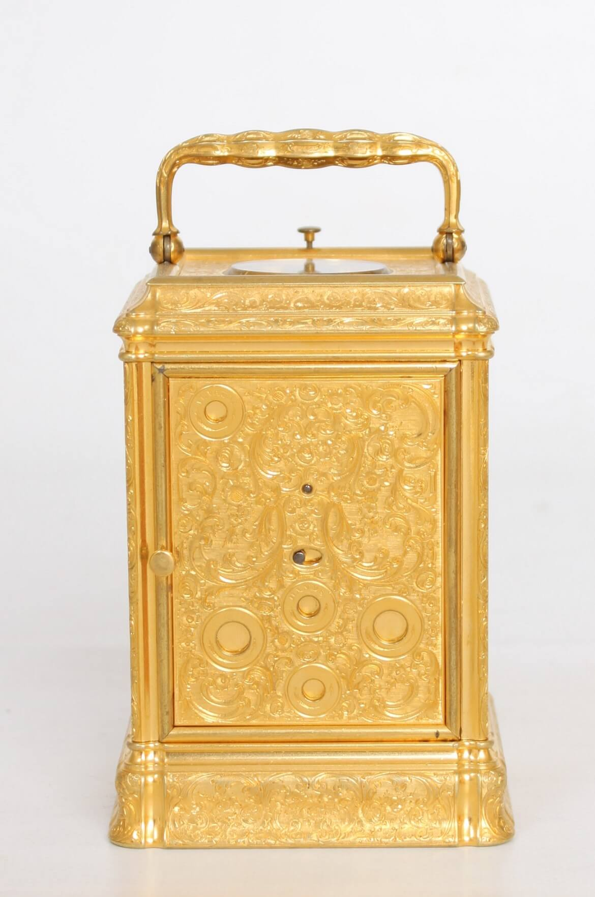 English-gorge Case-carriage Clock-quarter Repeating-Dent-gilt Brass-engraved