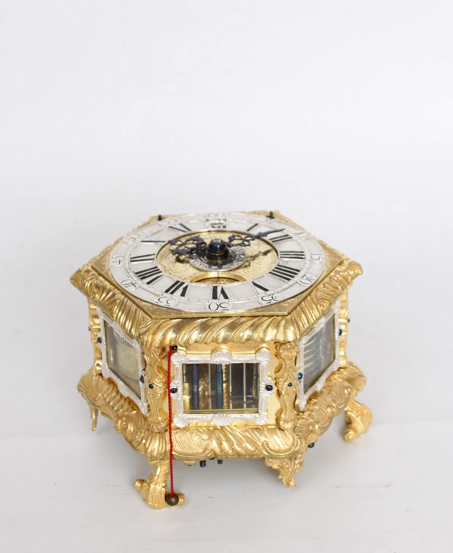 German-gilt Brass-hexagonal-quarter Striking-table Clock-engraved-alarm-repeating