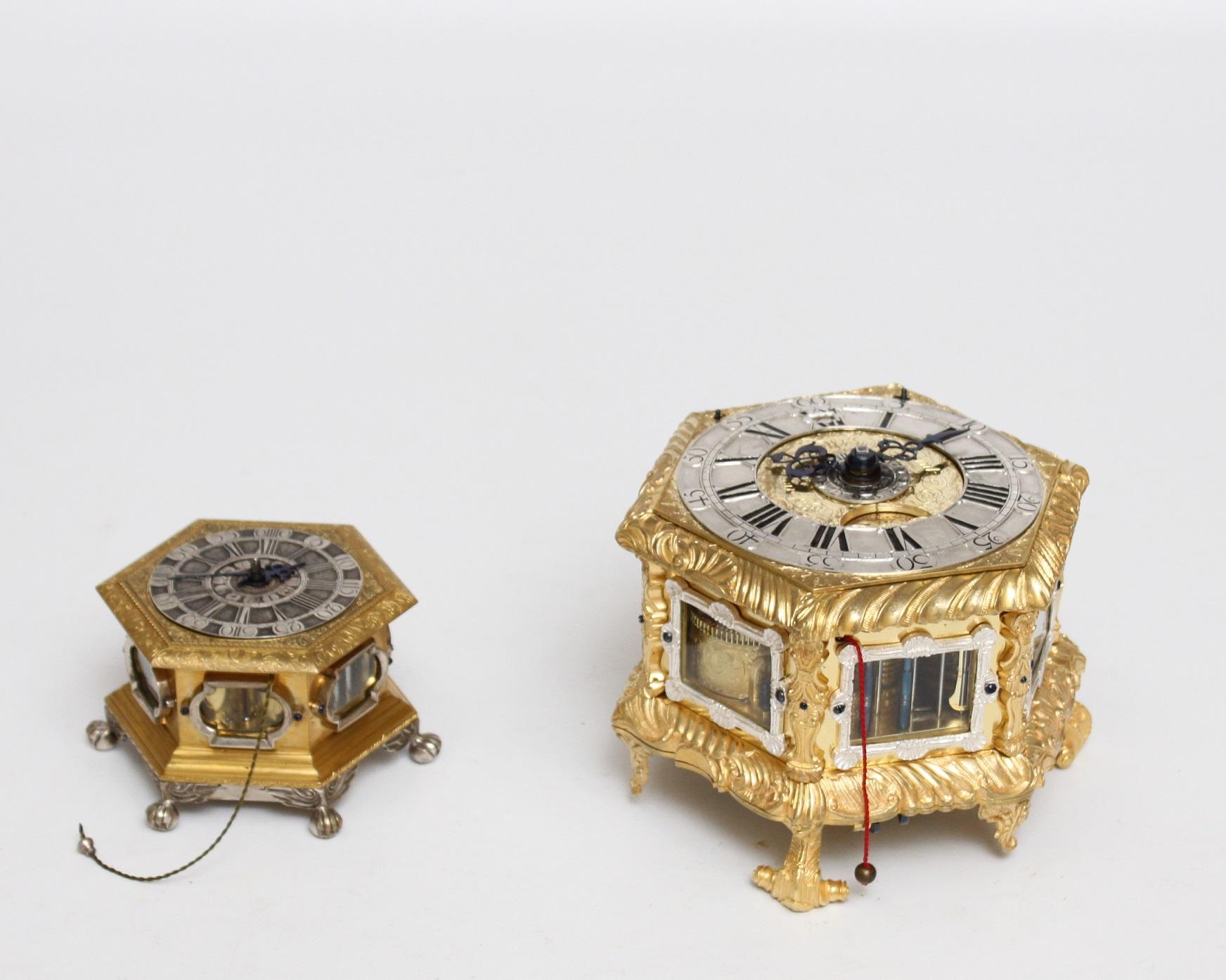 German-gilt brass-hexagonal-quarter striking-table clock-engraved-alarm-repeating