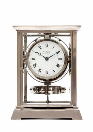 A French Nickel Plated Atmos Clock, J.L. Reutter, Circa 1933