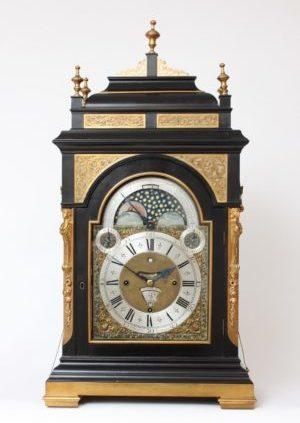 A Very Large Dutch Ebonized Musical Calendar Table Clock, J.P. Kroese Amsterdam, Circa 1740