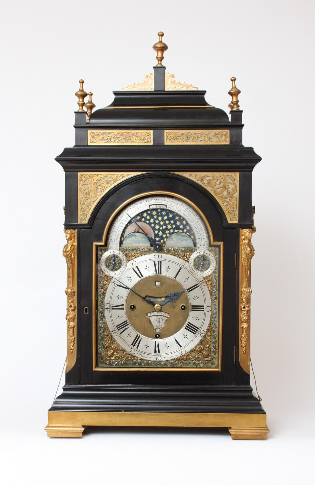 A Very Large Dutch Ebonized Musical Calendar Table Clock