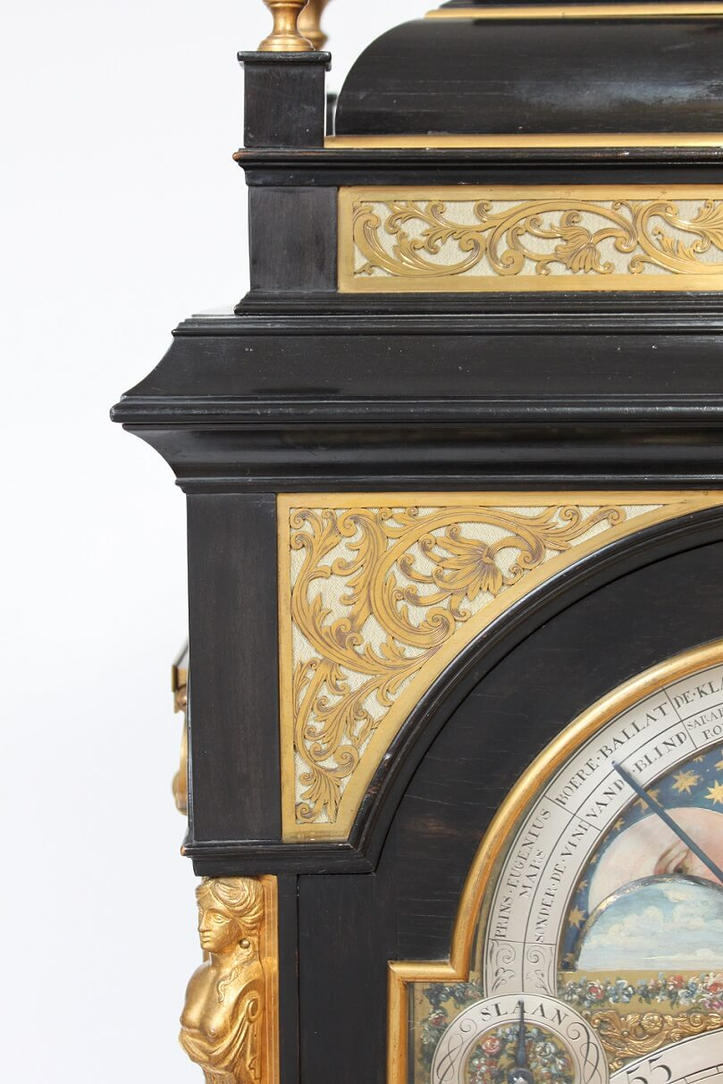 Large-Dutch-bracket- Clock-antique Clock-Kroese-Amsterdam-musical-calendar-moonphase-striking