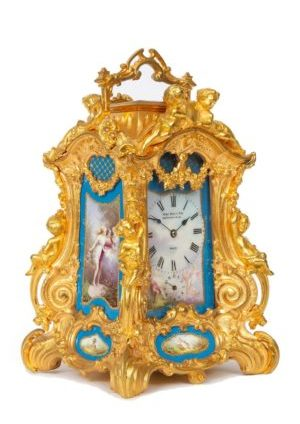French-Drocourt-carriage Clock-rococo Case-antique Clock-Sevres-porcelain-gilt Bronze