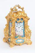French-Drocourt-carriage Clock-rococo Case-antique Clock-Sevres-porcelain-gilt Bronze-Turin