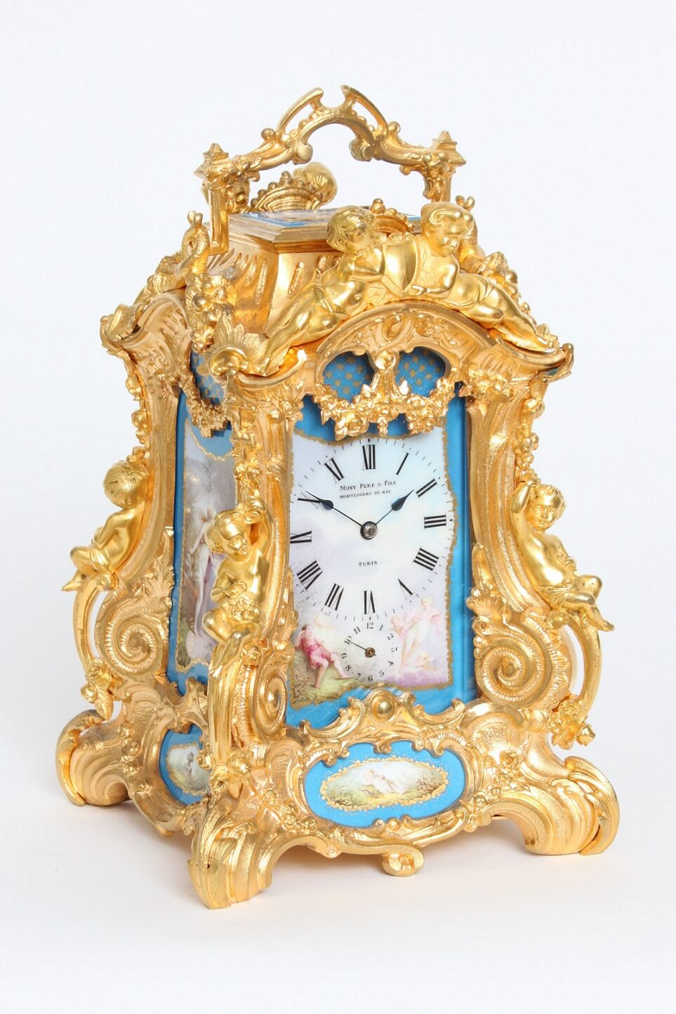 French-Drocourt-carriage clock-rococo case-antique clock-Sevres-porcelain-gilt bronze-Turin