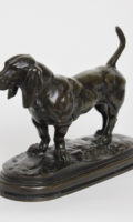 French-Bayre-Barbedienne-sculpture-dog-Basset-bronz