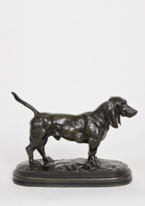 French-Bayre-Barbedienne-sculpture-dog-Basset-bronze