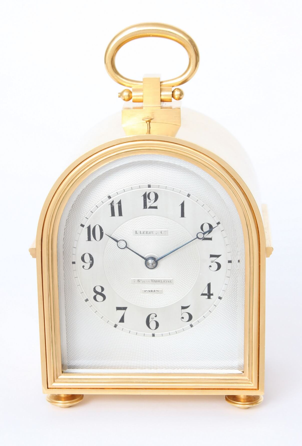 French-humpback-antique-travel-carriage-clock-gilt-brass-Leroy & Cie-petite-sonnerie