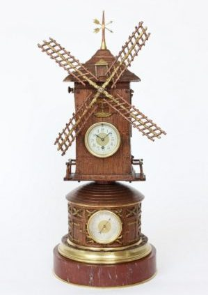 A French Animated Industrial Mantel Clock, Windmill By Guilmet, Circa 1880