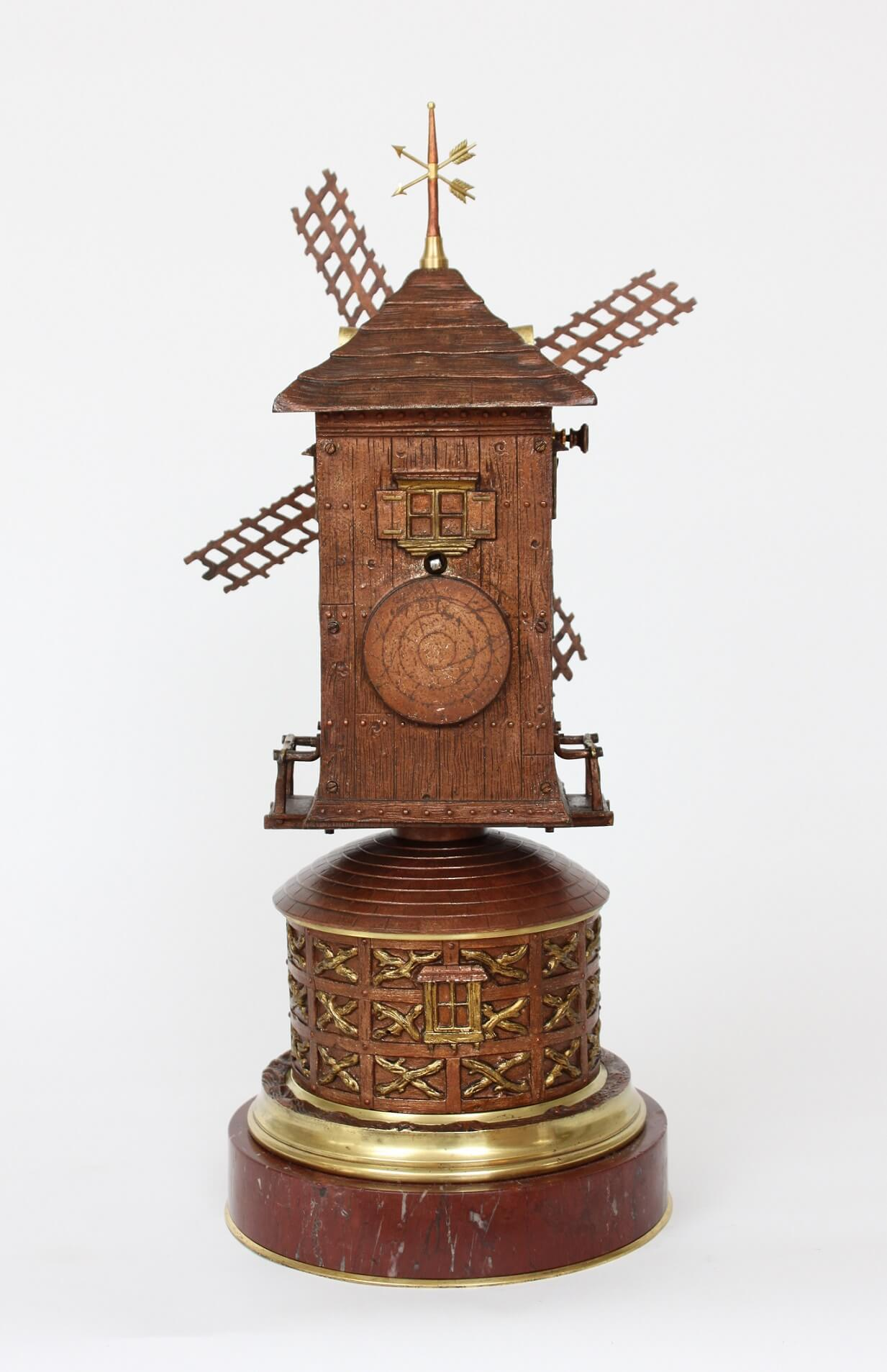 French-industrial-antique-clock-Guilmet-windmill-animated-automaton