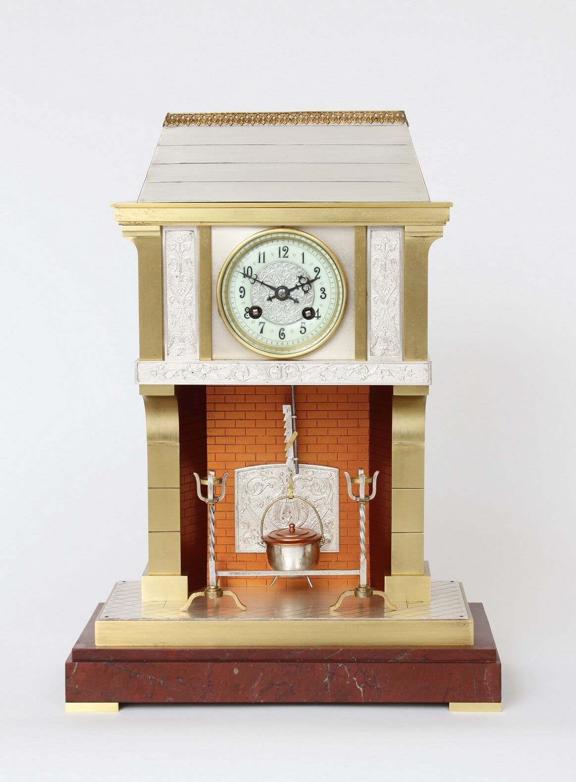 French-industrial-antique-mantel-clock-guilmet-fireplace-striking-animated