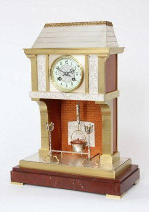 A French Brass And Marble Industrial Mantel Clock, Fireplace By Guilmet, Circa 1890