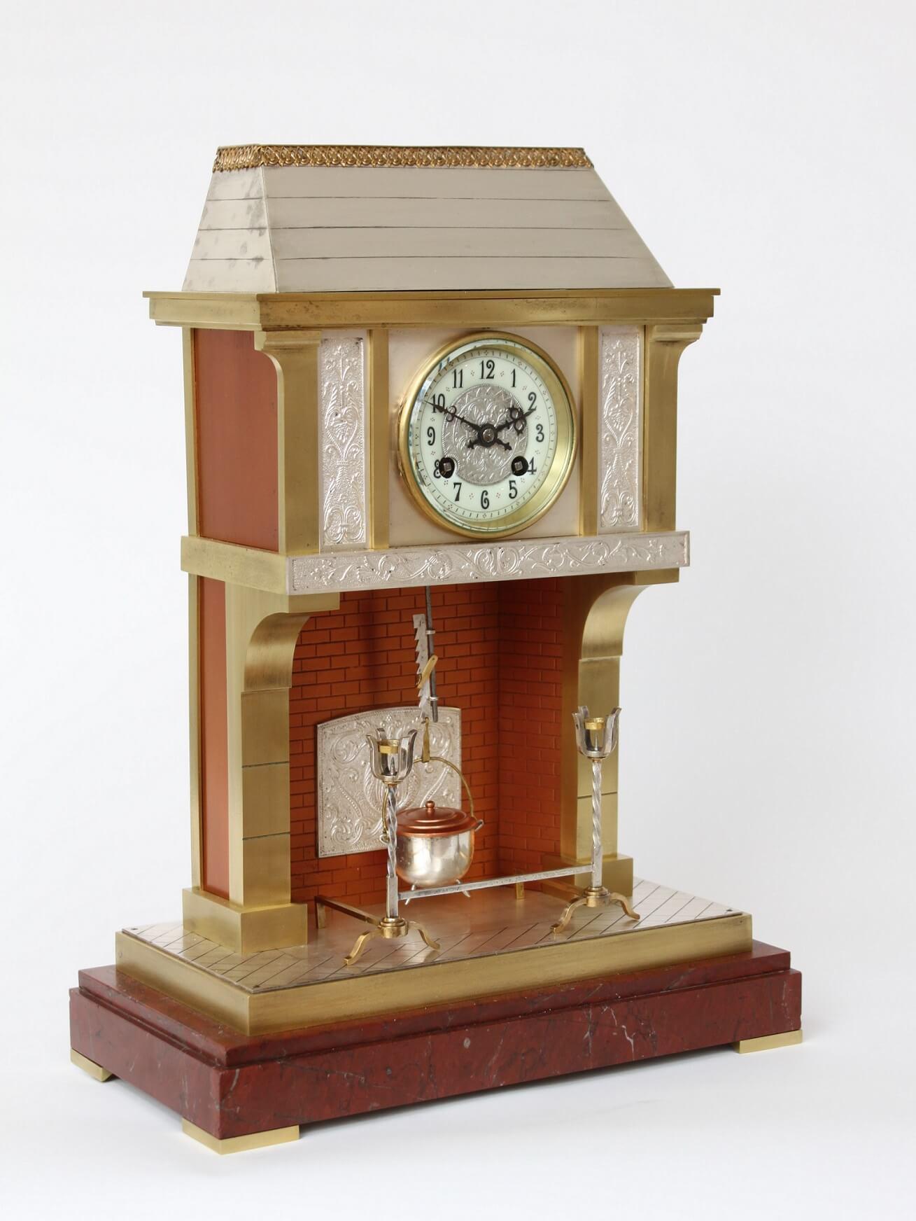 Frans-industriële-pendule-messing-antieke-klok
