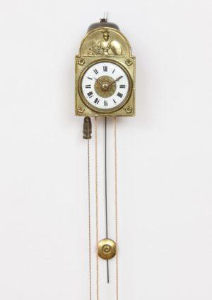 A German Miniature Sorg Wall Alarm Timepiece, Circa 1840