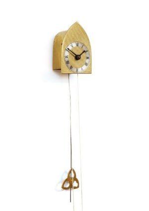 A Miniature Austrian Brass Brettl Wall Timepiece, Circa 1840