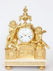 French-Louis XVI-ormolu-bronze-sculptural-antique-mantel-clock-Viger-Osmond