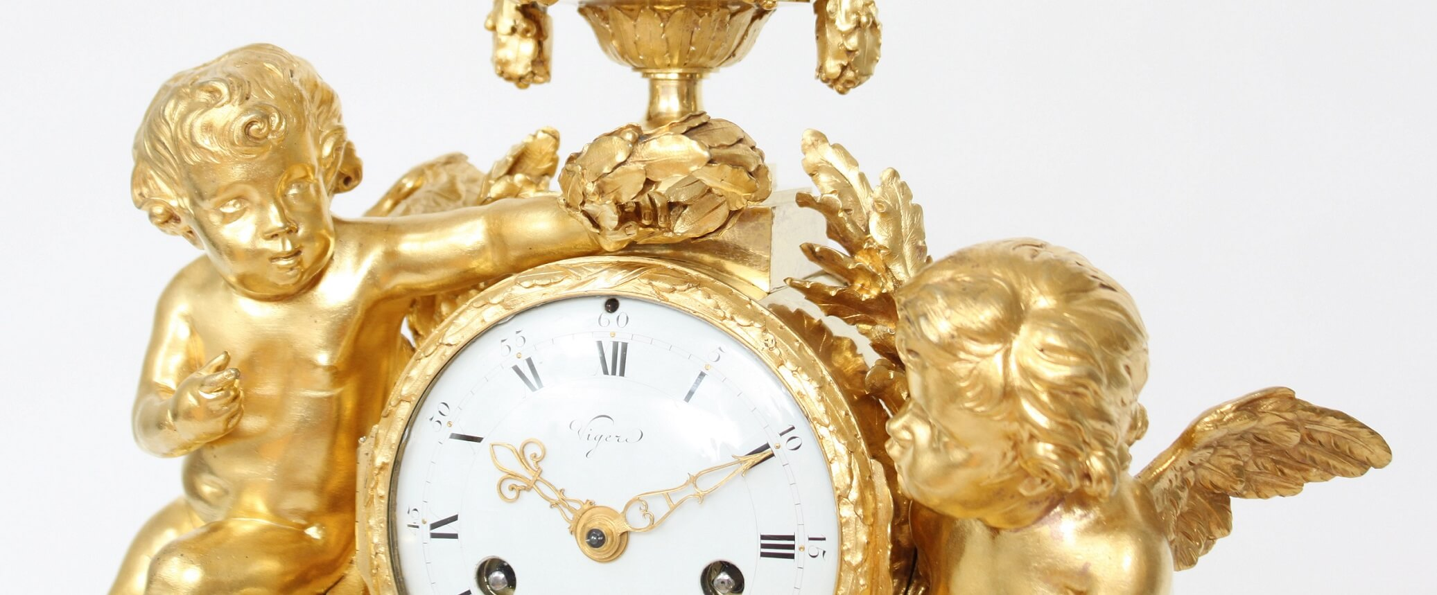 French-Louis XVI-ormolu-bronze-sculptural-antique-mantel-clock-Viger-Osmond