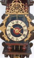 Dutch-Geldern-Gelderland-achterhoek-antique-wall-clock-spraekel-polychrome-iron-striking-alarm-provincial