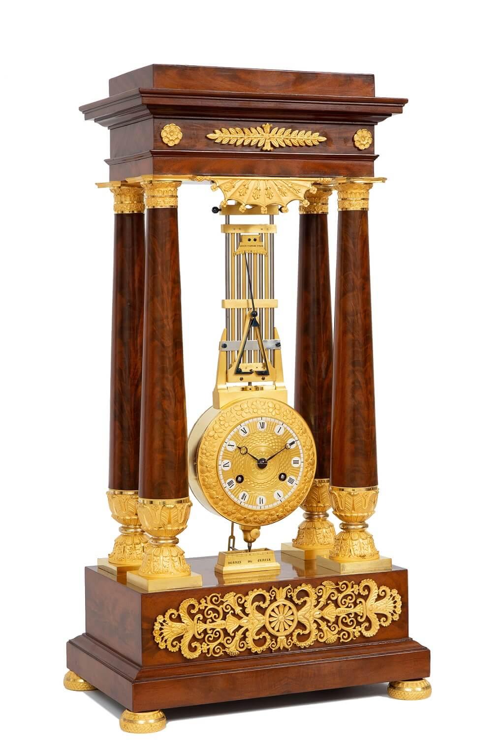 French-Empire-mahogany-ormolu-portico-oscillating-bronze-antique-clock